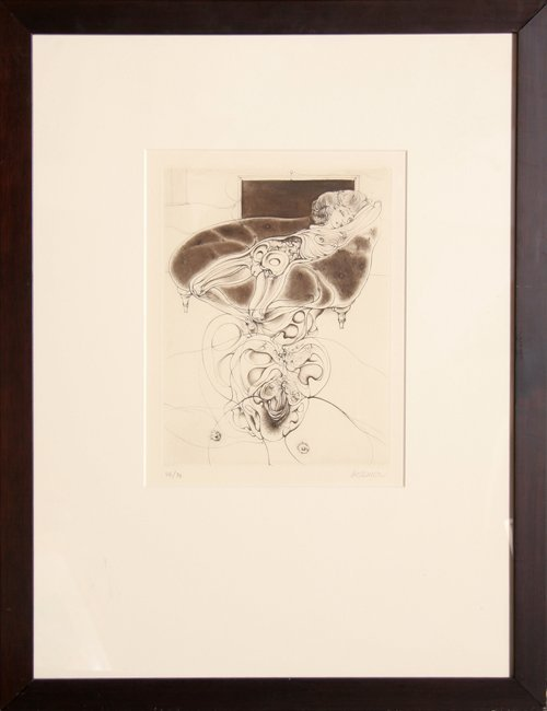523: Hans Bellmer, Untitled - Nude on Sofa, Etching