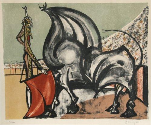 584: Oscar Dominguez, Hommage a Manolete, Lithograph