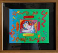 686: Peter Max, I Love the World, Acrylic over Lithogra
