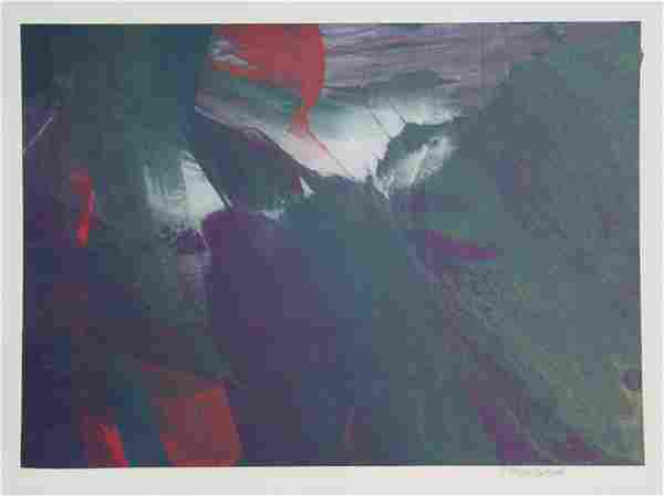 Larry Middlestadt, Green and Red Abstract, Monoprint