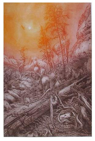 Roy Purcell, Looking for Strays, Etching