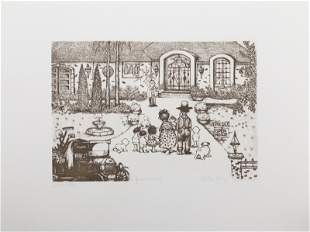Charles Bragg, Open House, Etching