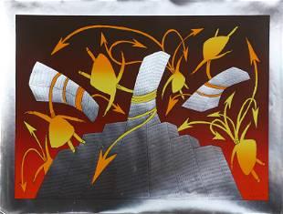 Jean-Michel Folon, Tree, Screenprint on Foil Paper