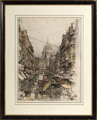 Luigi Kasimir, Fleet Street, Etching and aquatint
