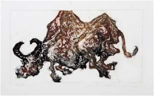 Shaih Lifa, Bull, Etching with Aquatint