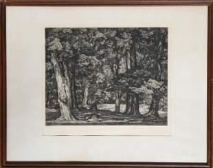 Luigi Lucioni, Tree Tapestry, Etching