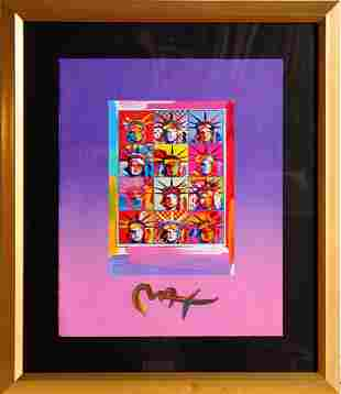 Peter Max, Twelve Liberty Heads, Acrylic and Collage on