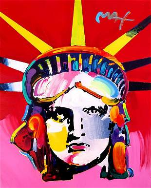 Peter Max, Liberty Head (Red and Pink), Acrylic