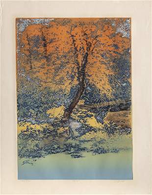 Jack Willis, Forest Pool, Etching