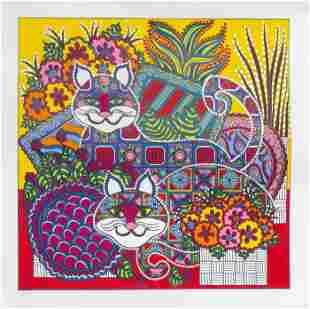 Mara Abboud, Calico Cats, Screenprint
