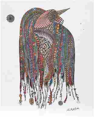 Ovadia Alkara, Bird, Lithograph