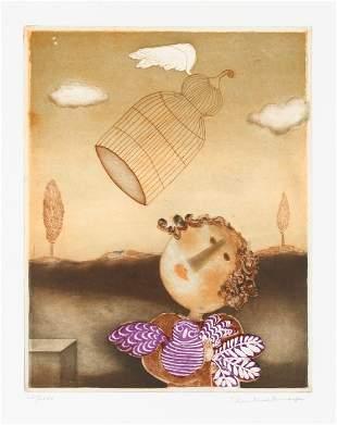 Christine Amarger, Flying Bird Cage, Aquatint Etching