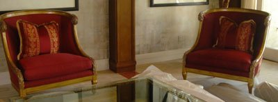 3: Pair of Red Louis XVI Chairs