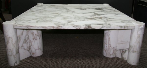 13: Gae Aulenti, Knoll, White Marble Carved Low Table