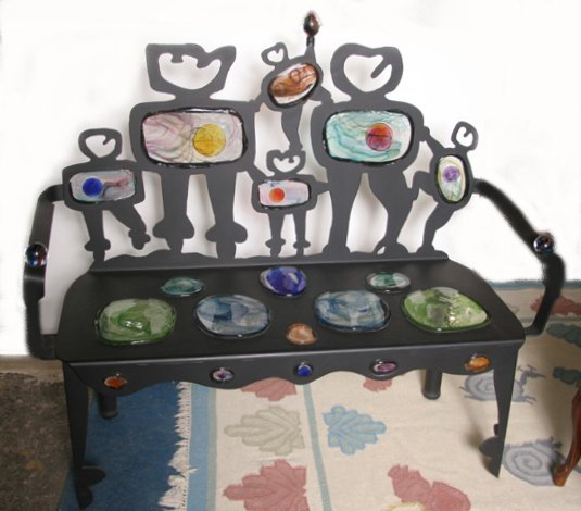 17: Cast Iron Art Glass Bench