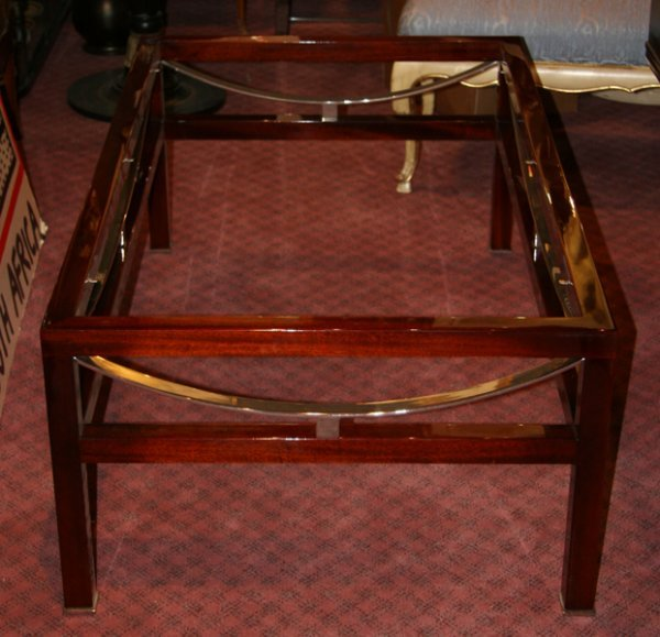 18: Contemporary Mahogany and Glass Coffee Table
