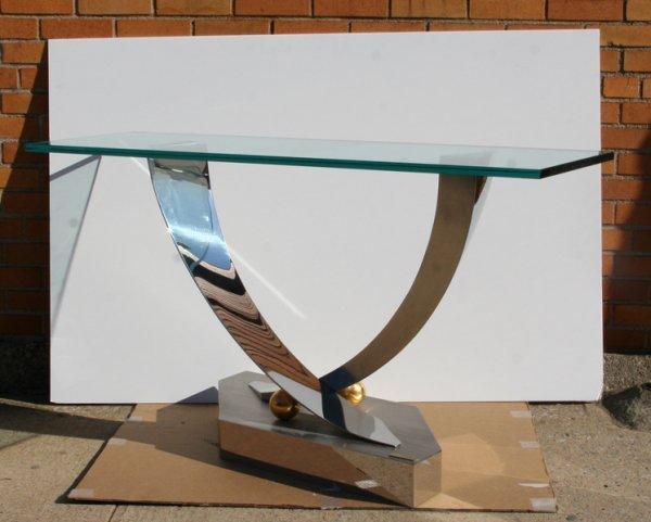 21: Greg Sheres, Modern Glass Table, Glass Chrome Brass