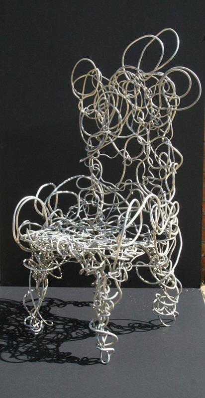 24: Aluminum Modern Wire Sculpture Chair