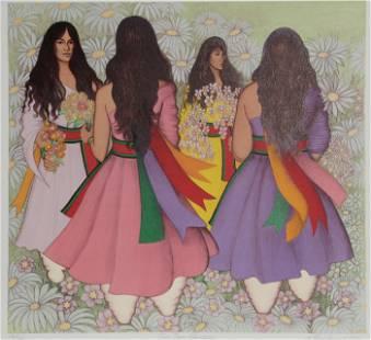 Alice Asmar, Taos Corn Dancers, Lithograph