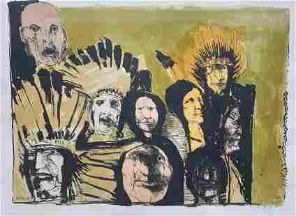 Leonard Baskin, Indian Faces, Lithograph