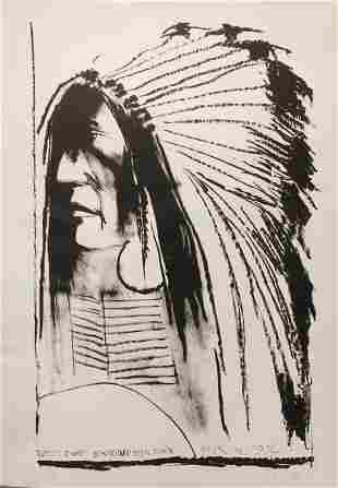 Leonard Baskin, Swift Dog - Standing Rock Sioux,