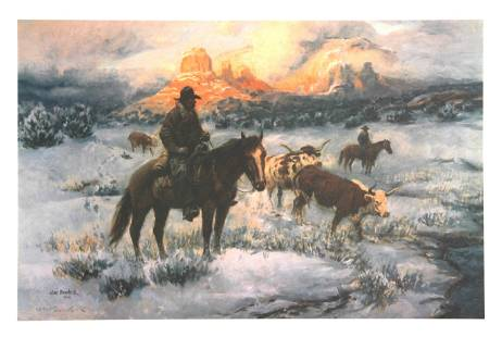 Joe Beeler, Cold Day on The Trail, Lithograph