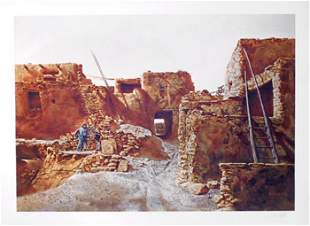 Paul Calle, Wood Gatherer of Walpi, Lithograph