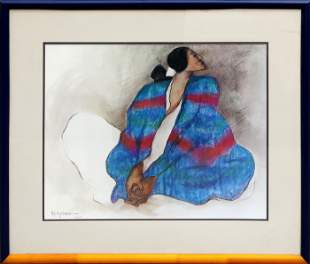 R.C. Gorman, Woman with Blue Blanket, Offset lithograph