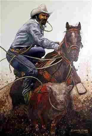 Frances James, Cowboy Roping Steer, Oil Painting