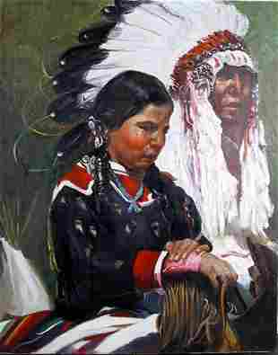 Frances James, Native American Chief and Woman, Oil