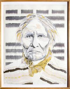 Tomas Lasansky, Geronimo, Paper Collage with Charcoal