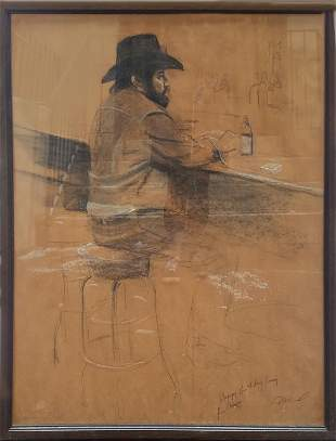 Harry McCormick, Cowboy at a Bar, Charcoal and Pastel