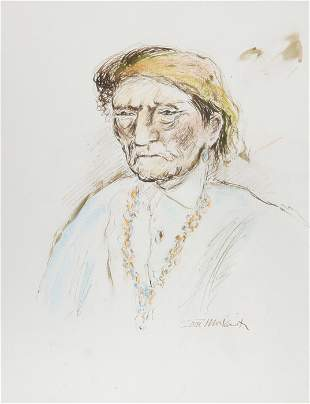 Ira Moskowitz, Native American Man - IV, Ink and Pastel