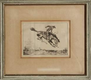 Harmon Pritchard, Bronco Rider, Etching