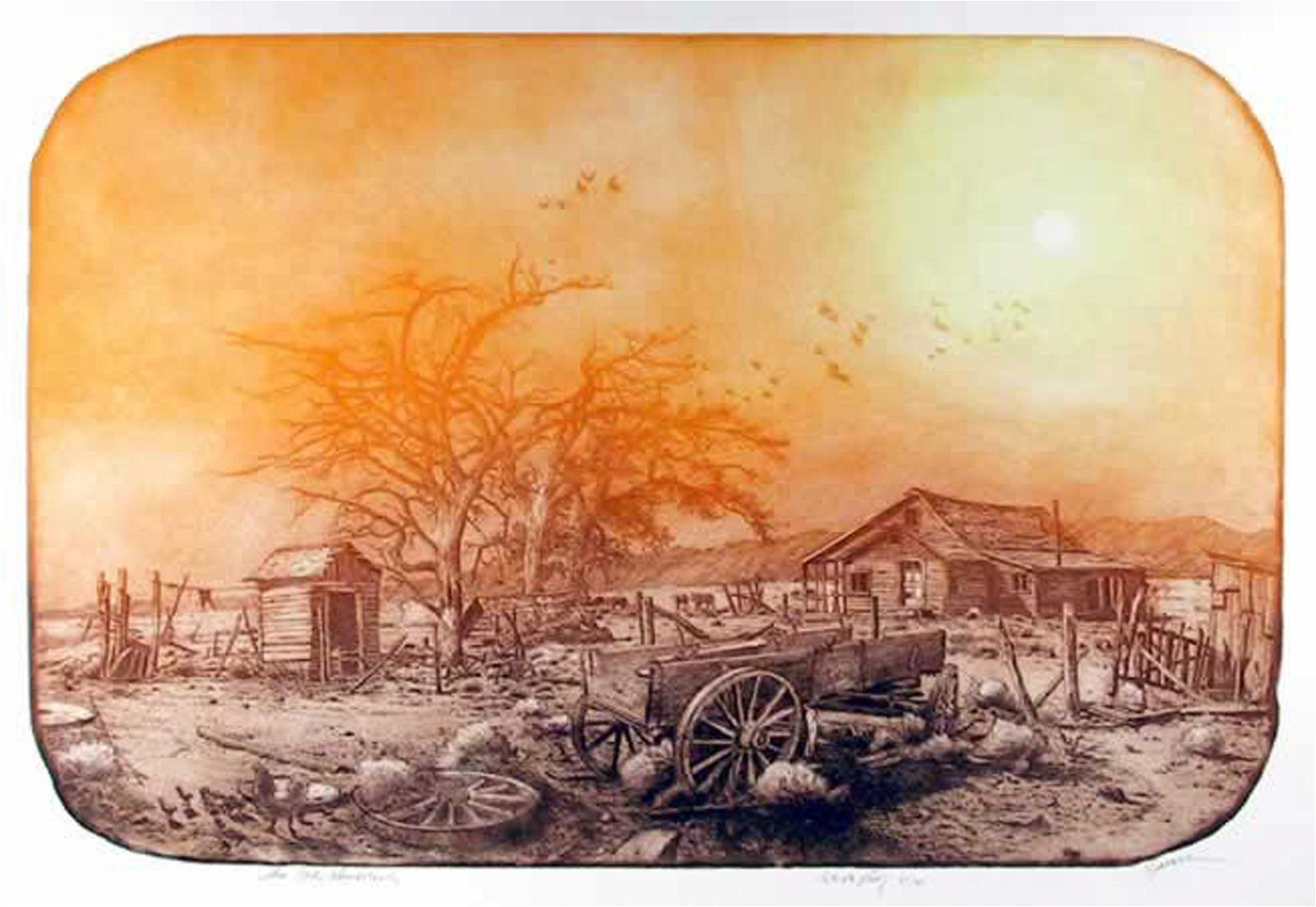 Roy Purcell, The Old Homestead, Etching