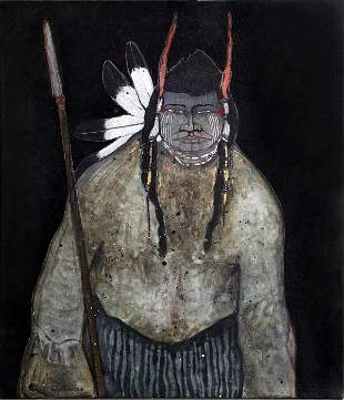 Kevin Red Star, Crow Indian with Spear, Oil Painting