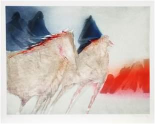 Jean Richardson, Horizon Fires, Aquatint Etching