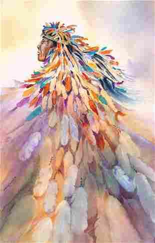 Barbara Segal, Medicine Man, Watercolor on Paper