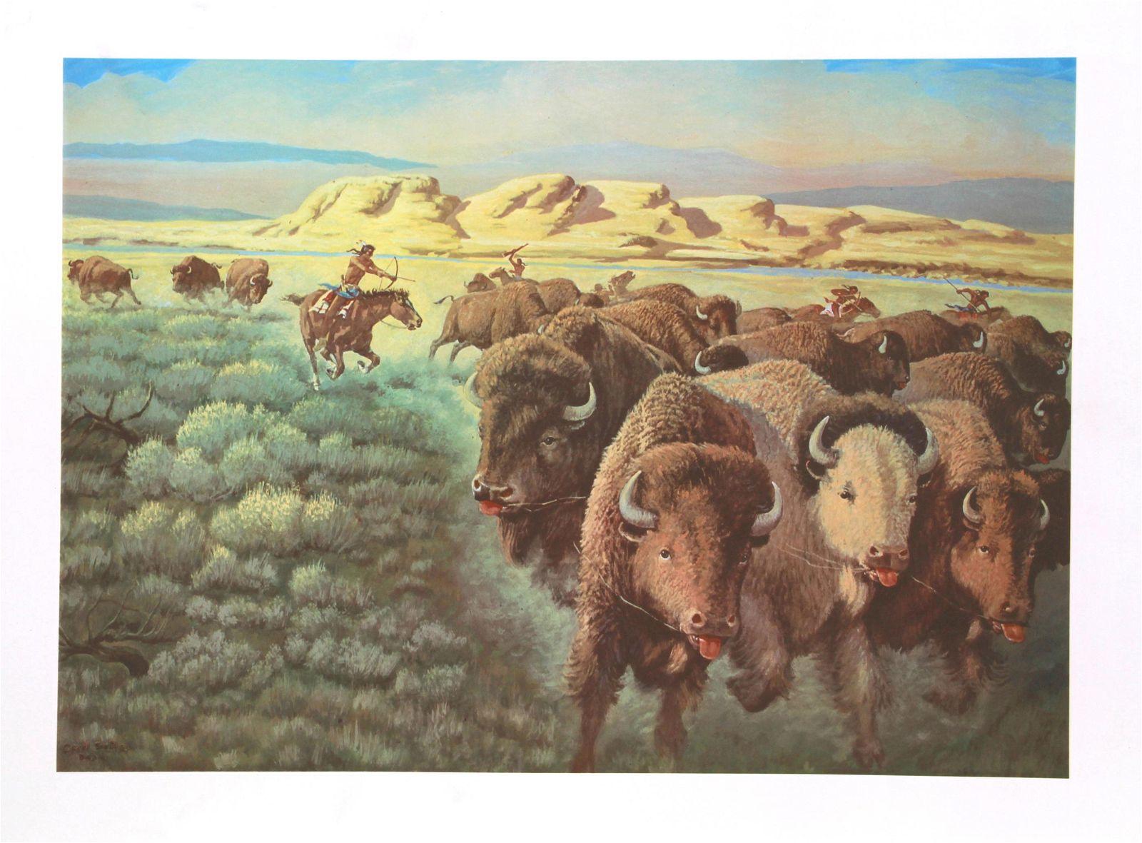 Cecil Smith, Cheyenne Buffalo Runners, Lithograph