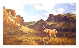 Robert Summers, Texas Longhorn, Lithograph
