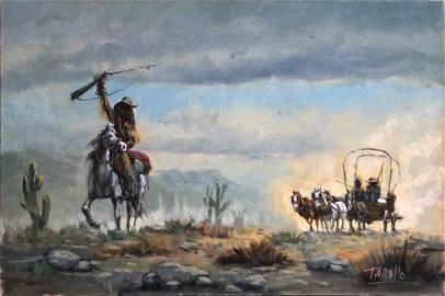 Rodolfo Tarallo, Cowboy with Wagon in Distance, Oil