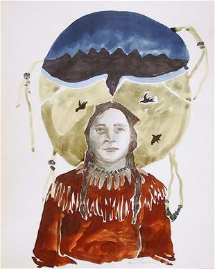 Pamme Turner, Native American Woman with Crow,