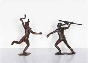Unknown Artist, Fighting Indians (Pair), Bronze
