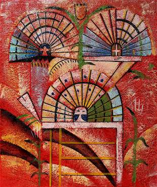 Unknown Artist, Harvest Kachinas, Oil Painting