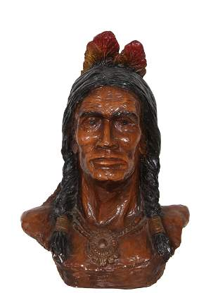 Unknown Artist, Native American Bust, Painted Plaster