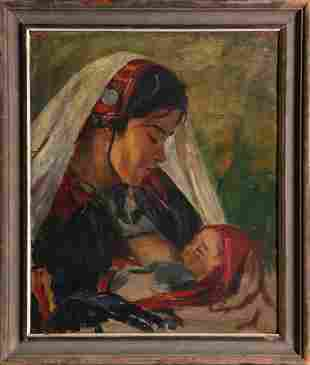 Unknown Artist, Native American Mother, Oil on Board