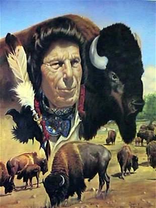 Douglas Weaver, Native American Man and Bison,