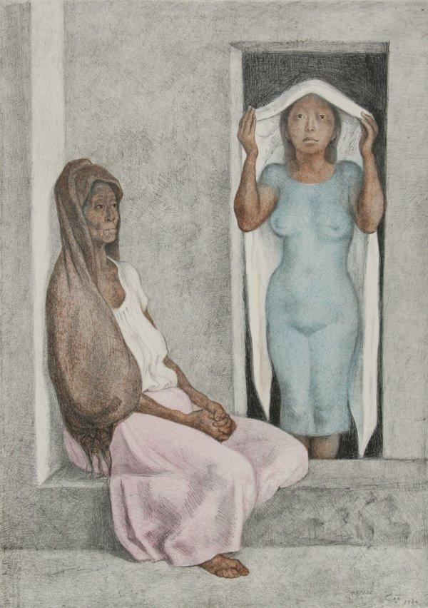 2: Francisco Zuniga, El Rebozo Blanco, Lithograph