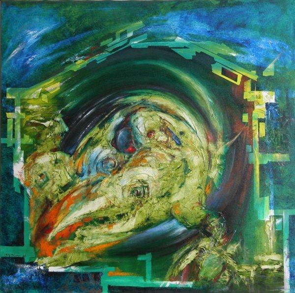 6: Yuri Yurov, Lizard, Oil Painting