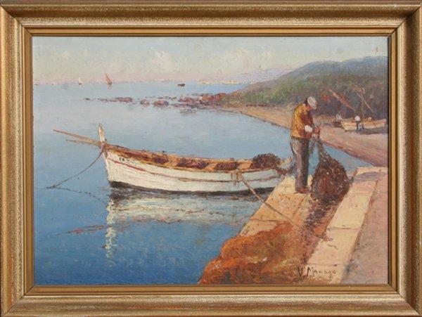 24: Vincent Manago, Fisherman, Oil Painting
